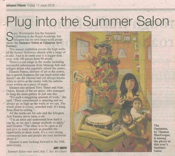 Islington Tribune article, on the Summer Salon Exhibition, 2016