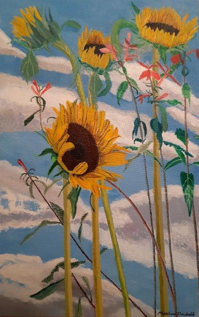 Sunflowers and Lobelia